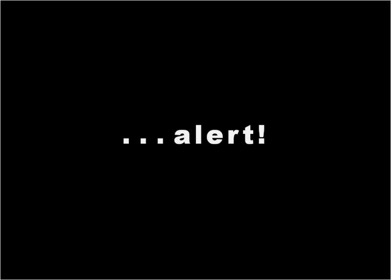"This visual consists of just the following text ""Alert!"" This is written in a bold font in white against a completely black rectangular background. The word 'alert' is in continuation of the article headline which simply says ""Blackmailer . . ."" So read together it reads ""Blackmailer alert!"" Graphic credit: Pawan Dhall"