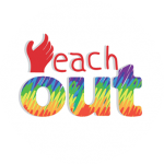 Logo for 'Reach OUT', a multimedia campaign organized from June to December 2018 to generate awareness about Varta Trust's online database (locator) on queer friendly health and legal aid services across India. The database was developed in collaboration with Grindr for Equality, Los Angeles and SAATHII, Chennai. The logo consists of a partially open hand reaching upwards, as if to hold on to something. The hand forms the letter 'R' in the word 'Reach' which is written out in deep red colour. Right below the word 'Reach' is the word 'Out' in bold lettering and coloured in the queer pride rainbow flag colours. Logo artwork credit: Parvathy
