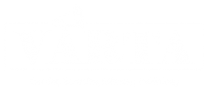 """Varta Trust organizational logo: The word 'Varta' written out in black colour in a bold stylized typeface in all capitals on a white background. The text is inside a rectangle finely outlined in black. The first 'A' in 'Varta' is affixed with the graphic of a bugle on top. The bugle faces to the right, and breaks the rectangular outline where it sticks out above the logo lettering. Tagline below the logo says """"Gender, Sexuality, Intimacy, Publishing"""". Logo artwork credit: Rudra Kishore Mandal"""