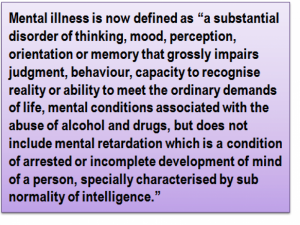 "Quote: Mental illness is now defined as ""a substantial disorder of thinking, mood, perception, orientation or memory that grossly impairs judgment, behaviour, capacity to recognise reality or ability to meet the ordinary demands of life, mental conditions associated with the abuse of alcohol and drugs, but does not include mental retardation which is a condition of arrested or incomplete development of mind of a person, specially characterised by sub normality of intelligence."""
