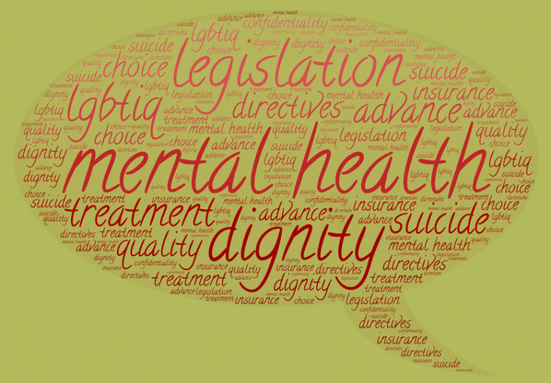 Word cloud in the shape of a thought blurb on the theme of the new mental health legislation – it includes words like 'advance directives', 'choice', 'dignity', 'insurance', 'LGBTIQ', 'mental health', 'legislation', 'quality', 'suicide' and 'treatment'. Graphic credit: Pawan Dhall