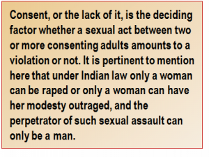 Quote: Consent, or the lack of it, is the deciding factor whether a sexual act between two or more consenting adults amounts to a violation or not. It is pertinent to mention here that under Indian law only a woman can be raped or only a woman can have her modesty outraged, and the perpetrator of such sexual assault can only be a man.