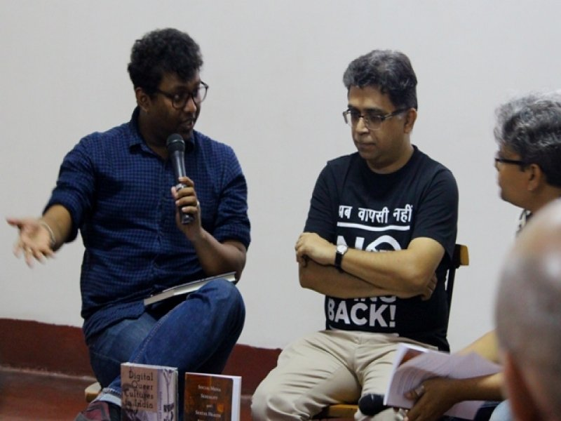 This second photograph shows Dr. Rohit K. Dasgupta in a panel discussion with the interviewer Pawan Dhall and artist Rudra Kishore Mandal during a book launch event as mentioned in the interview text just above this photograph. The event titled 'Books, Films and IDAHOBIT 2017' was held on May 4, 2017 at the Alliance Francaise du Bengale centre on Park Street, Kolkata, in the evening after this interview. Both of Dr. Rohit K. Dasgupta's books mentioned in this interview were launched at the event – 'Digital Queer Cultures in India – Politics, Intimacies and Belonging' and 'Social Media, Sexuality and Sexual Health Advocacy in Kolkata, India' (which was co-authored by Pawan Dhall). The event was anchored by Rudra Kishore Mandal. A hyperlink to the event report is provided at the end of this article. Photo credit: Arunabha Hazra