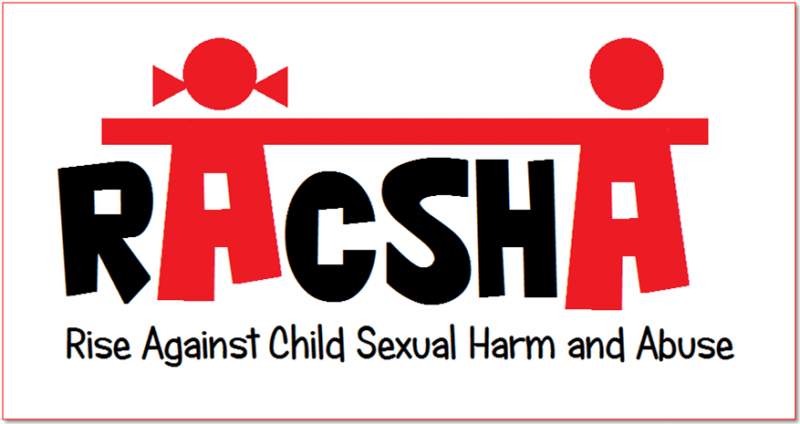 This main photograph shows the logo of the RACSHA network. RACSHA stands for Rise Against Child Sexual Harm and Abuse. The logo is such that the lettering of the acronym RACSHA is spelled out in capital letters in a font that is bold and playful. The first 'A' in the acronym RACSHA is designed as an icon of a girl child, while the second is presented as an icon of a boy child. A line connects the tops of both the A's which makes it seem as if the two children are holding hands. Both the A's are in flaming red colour, while the rest of the letters of the acronym are in black. The acronym full form is provided below the logo. Artwork credit: RACSHA volunteers