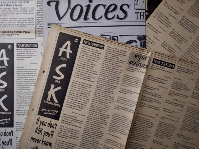 "This main photograph shows a collage of copies of the 'AIDS Sex Knowledge' or 'ASK' column published for young people by Kolkata-based social communication NGO Thoughtshop Foundation in 1996. The interactive column was published in the 'Voices' youth supplement of 'The Statesman' every third Thursday. Four editions of the column from February to April 1996 dealt with queer issues with inputs from Counsel Club, one of India's earliest queer support groups. The photograph shows snippets of the column from these four editions – reader questions, myths and realities pointers, and reader comments on gender and sexuality. The full column name is displayed prominently – 'AIDS Sex Knowledge for Young People' with the tag line ""If you don't ask, you'll never know, will you?"" The 'Voices' masthead is also prominently visible. Photo credit: Pawan Dhall"