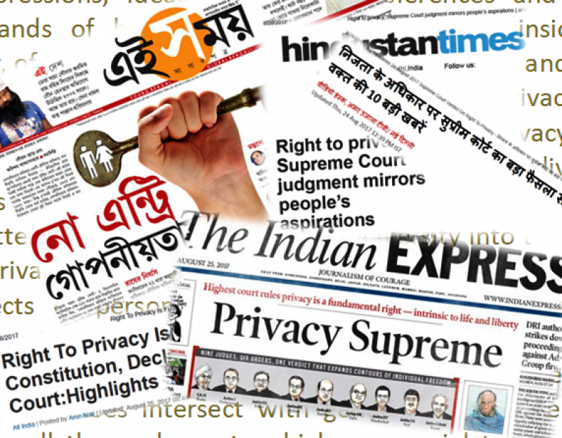 This graphic shows a collage of media headlines on the Supreme Court of India's verdict on the Fundamental Right to Privacy. Headlines are from 'Ei Samay' Bengali newspaper ('No Entry Goponiyotay'); 'Hindustan Times' ('Right to Privacy: Supreme Court Judgment Mirrors People's Aspirations'); 'Amar Ujala' ('Nijta Ke Adhikar Per Supreme Court Ka Bada Faisla'); 'The Indian Express' ('Privacy Supreme'); and NDTV ('Right to Privacy Is Fundamental Right under Constitution, Declares Supreme Court'). The 'Ei Samay' report has an interesting graphic that shows a hand holding a huge key, with the icons of a man and a woman holding hands imprinted on the bow of the key. The 'Indian Express' story shows a gallery of pictures of the nine judges who came out with the verdict. Graphic credit: Pawan Dhall