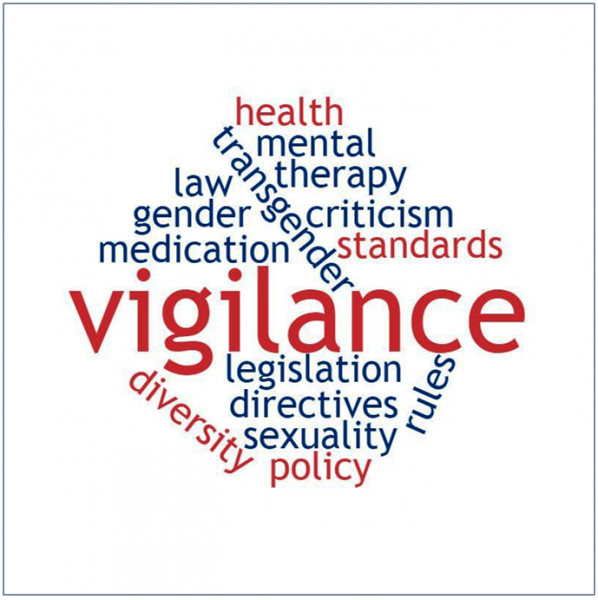 Word cloud roughly in the shape of a diamond to highlight the issues talked about in the article below. There is key emphasis on the word 'vigilance', which stands out in big point size and red colour in the centre. Other words, all in blue or red colour, include 'criticism', 'diversity', 'gender', 'health', 'law', 'legislation', 'medication', 'mental', 'policy', 'rules', 'sexuality', 'standards', 'therapy' and 'transgender'. Graphic credit: Pawan Dhall