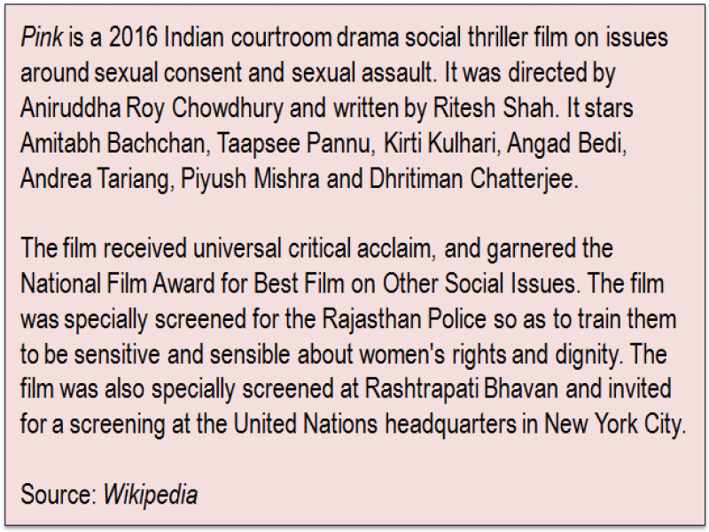 Inset: 'Pink' is a 2016 Indian courtroom drama social thriller film on issues around sexual consent and sexual assault. It was directed by Aniruddha Roy Chowdhury and written by Ritesh Shah. It stars Amitabh Bachchan, Taapsee Pannu, Kirti Kulhari, Angad Bedi, Andrea Tariang, Piyush Mishra and Dhritiman Chatterjee. The film received universal critical acclaim, and garnered the National Film Award for Best Film on Other Social Issues. The film was specially screened for the Rajasthan Police so as to train them to be sensitive and sensible about women's rights and dignity. The film was also specially screened at Rashtrapati Bhavan and invited for a screening at the United Nations headquarters in New York City. Source: 'Wikipedia'