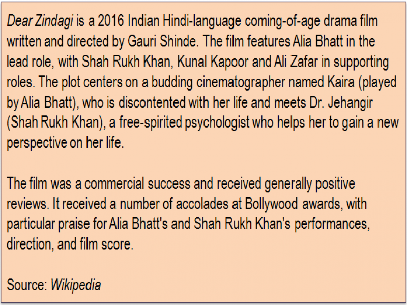 Inset: 'Dear Zindagi' is a 2016 Indian Hindi-language coming-of-age drama film written and directed by Gauri Shinde. The film features Alia Bhatt in the lead role, with Shah Rukh Khan, Kunal Kapoor and Ali Zafar in supporting roles. The plot centers on a budding cinematographer named Kaira (played by Alia Bhatt), who is discontented with her life and meets Dr. Jehangir (Shah Rukh Khan), a free-spirited psychologist who helps her to gain a new perspective on her life. The film was a commercial success and received generally positive reviews. It received a number of accolades at Bollywood awards, with particular praise for Alia Bhatt's and Shah Rukh Khan's performances, direction, and film score. Source: 'Wikipedia'