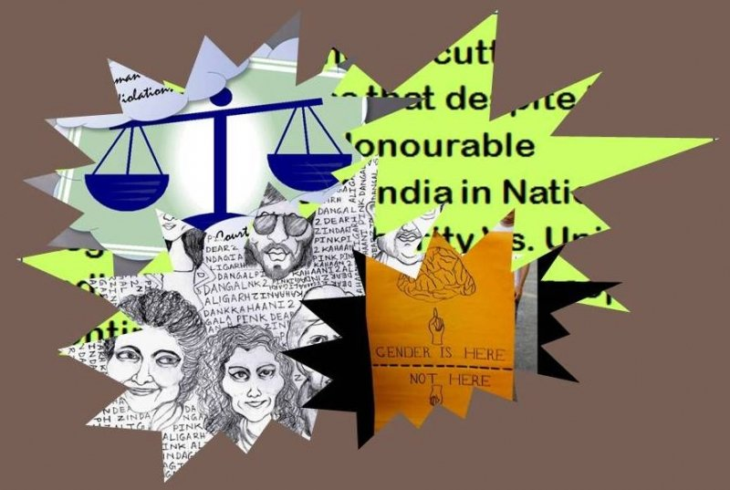 "This graphic is a collage created with key illustrations used in the articles in this month's issue of 'Varta' (November 2017). The long descriptions of each of the illustrations can be found in the respective articles, that is, 'Cinema, Commerce and Causes"", 'Government Letdown on Transgender and Intersex Rights Legislation', 'PIL in Calcutta High Court to Push for Transgender Rights', and 'Voicing Out Stasis in Transgender Lives'. The collage is enclosed in a thought cloud, which is placed on a background with brown colour. Collage credit: Pawan Dhall"
