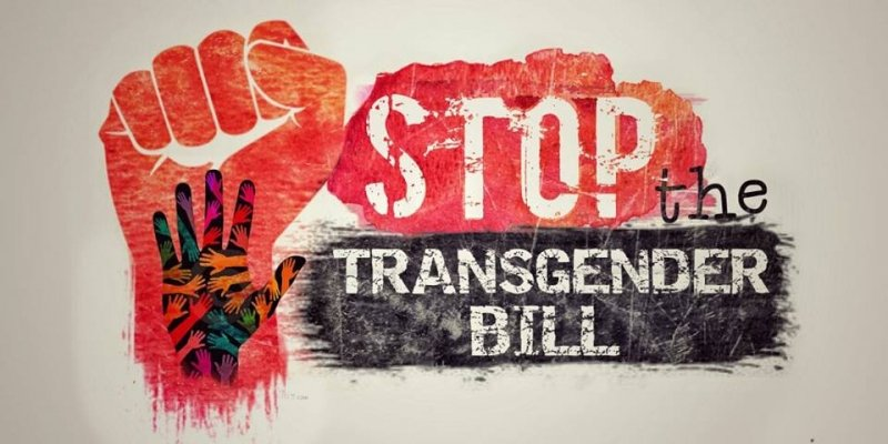 """This is a graphic designed for the ongoing campaign against the Transgender Person (Protection of Rights) Bill 2016. The text says """"Stop the Transgender Bill"""" in a bold typeface and large point size. To the left of the text is a layered illustration that shows a clenched fist in the background. An open palm is placed on the fist, with many more hands and forearms visible inside the open palm – all symbolizing a demand for protection and promotion of transgender and intersex rights. The dominant colour theme in the graphic is red, black and white. The numerous hands and forearms are in multiple colours juxtaposed on the black colour of the open palm. The clenched fist is in orange tinged red, while the text is in mainly white on a background of red and black. Artwork credit: Siddhartha Sankar"""