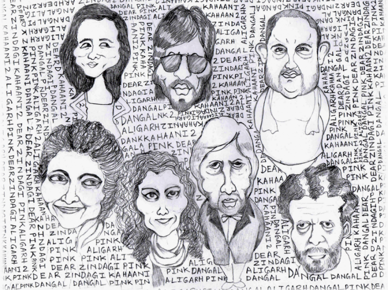 This graphic consists of pencil sketches on paper in caricature form of the faces of key actors from the films discussed in the accompanying article. The sketches are presented in two rows, one above the other. In the first row are Alia Bhatt, Shah Rukh Khan and Aamir Khan; in the second Vidya Balan, Taapsee Pannu, Amitabh Bachchan and Manoj Bajpai. The background is made up of handwritten repeat text consisting of the names of the films – 'Aligarh', 'Dangal', 'Dear Zindagi', 'Kahaani 2', and 'Pink'. The text is in all capitals but in small point size, and seems to form an intricate pattern on which the sketches of the faces are placed. Graphic credit: Shubhrajit Roy