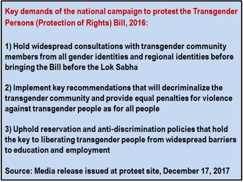 Inset: Key demands of the national campaign to protest the Transgender Persons (Protection of Rights) Bill, 2016: 1) Hold widespread consultations with transgender community members from all gender identities and regional identities before bringing the Bill before the Lok Sabha; 2) Implement key recommendations that will decriminalize the transgender community and provide equal penalties for violence against transgender people as for all people; 3) Uphold reservation and anti-discrimination policies that hold the key to liberating transgender people from widespread barriers to education and employment. Source: Media release issued at protest site, December 17, 2017