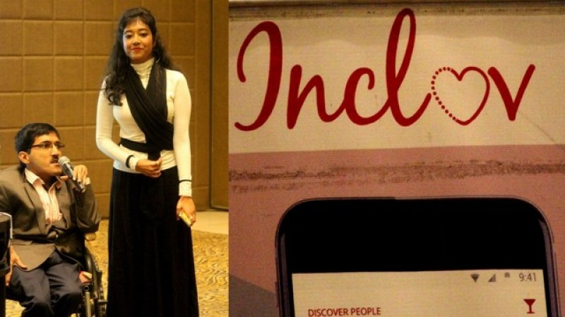 "This is a combination of two photographs, both taken at the Inclov social meet-up for people with disabilities held at a banquet hall in Lalit Great Eastern Hotel, Kolkata on January 21, 2018. The photograph on the left shows event host RJ Den introducing activist Chandrayee Dutta Chowdhury, who did a dance performance depicting the struggles of her life as a person with a disability. While RJ Den is seated in a wheelchair and is speaking holding a microphone, a smiling Chandrayee Dutta Chowdhury is standing next to him. The photograph on the right is that of an Inclov poster – the letter 'O' in the Inclov logo (in red colour) is replaced with a heart sign, with one side of the heart outline done in a dotted line. Below the logo is the partial picture of the top of a mobile phone with ""Discover people"" written to the left on the mobile screen. On the right can be seen the time on the mobile screen and a few icons found commonly in mobile phones to indicate phone connectivity. Photo credit: Prosenjit Pal"