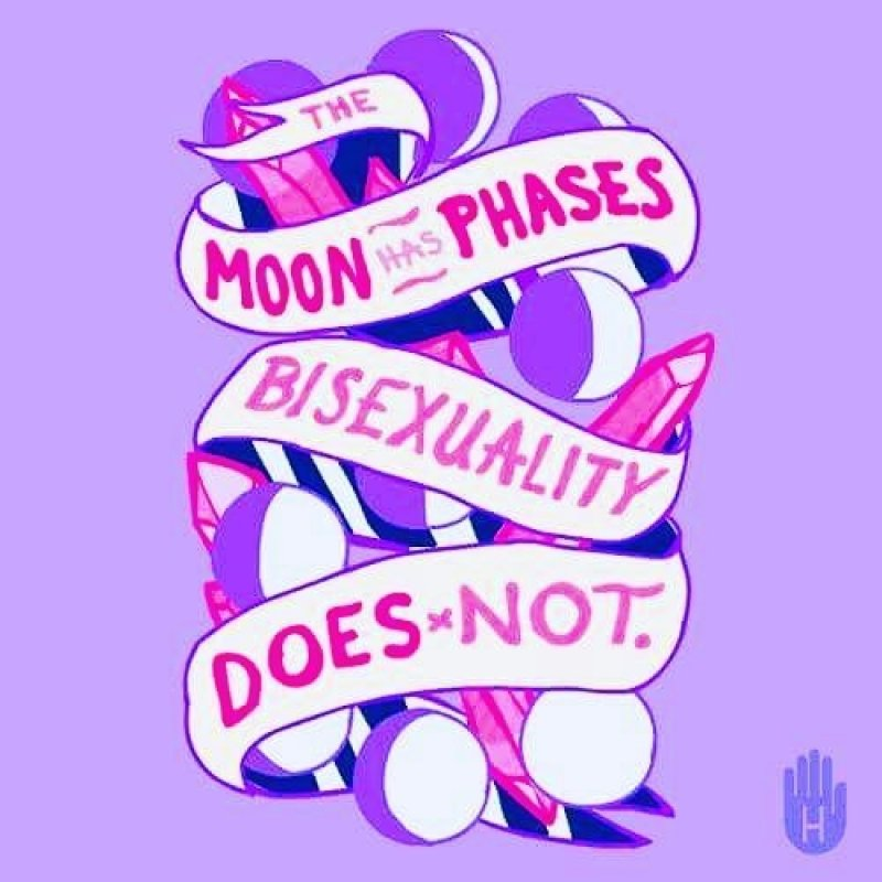 """This graphic shows a white ribbon spiralling around a collection of spheres representing different phases of the moon (the full moon shown in white, the new moon in a shade of purple, with intermediate phases bi-coloured in different proportions of purple and white). There is text in pink colour on the ribbon that says """"The moon has phases, bisexuality does not"""". This statement implies that bisexuality is not a phase, a bisexual person lives it day-to-day, and that bisexuality is real and not something to be made fun of like the passing phases of the moon. The graphic is imposed on a background of lavender colour. Below the graphic to the right is the logo of Look Human, creators of the graphic. The logo shows an iconic figure of a human hand, with a capital 'H' written on it in the centre. Graphic credit: Look Human / Pinterest."""