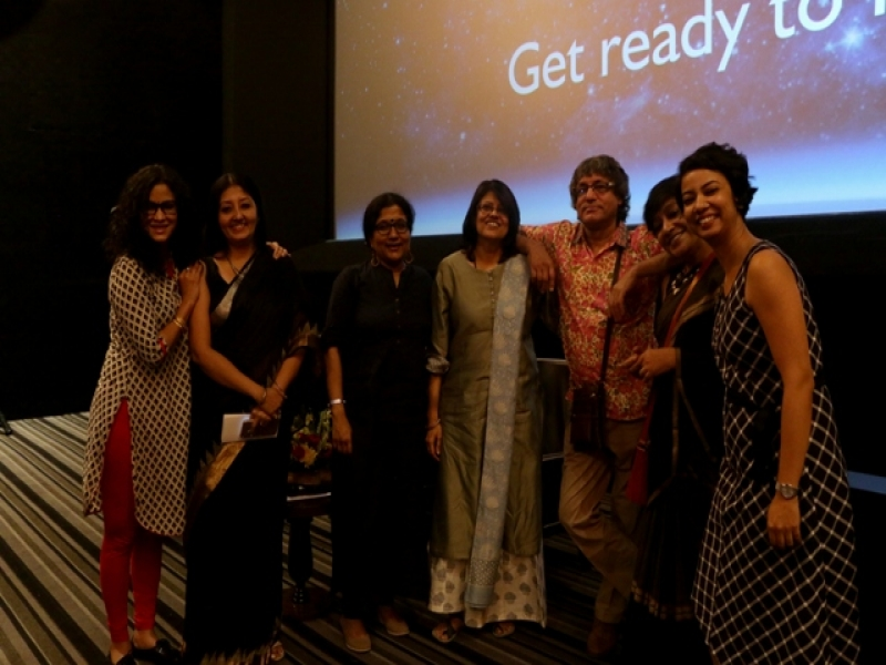 This is a photograph taken after the Kolkata premiere of the film 'The Little Girls We Were . . . And the Women We Are' at INOX Quest Mall. Shot near the screen in the cinema hall, it shows – from left to right – Nandana Dev Sen, ambassador for RAHI Foundation and guest at the premiere; Soma Roy Karmakar, RAHI Kolkata staff member; Koel Chatterji, entrepreneur and one of the survivors from Kolkata who featured in the film; Anuja Gupta, Executive Director of RAHI Foundation; Ashwini Ailawadi, Director, RAHI Foundation, also conceptualizer and scriptwriter of the film; Ayesha Sinha, another one of the survivors from Kolkata and founder of NGO Talash; and Paramita Saha, Director of Artsforward. Everyone is all smiles in the photograph. Photo courtesy: RAHI Foundation
