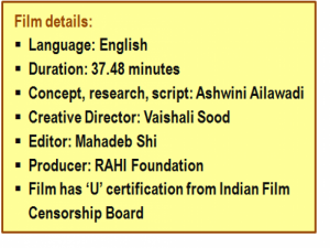 Film details: Language: English; duration: 37.48 minutes; concept, research, script: Ashwini Ailawadi; creative director: Vaishali Sood; editor: Mahadeb Shi; producer: RAHI Foundation; film has 'U' certification from Indian Film Censorship Board