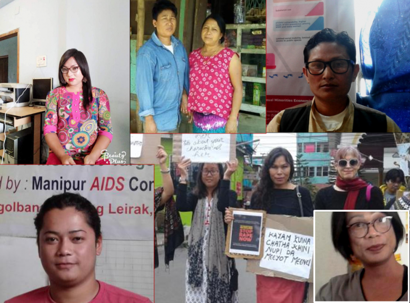 This is a collage of photographs of contributors to the 'Rainbow Manipur | Inclusive Manipur' blog, a unique online documentation initiative that advocates inclusion of gender and sexual minorities in Manipur in different socio-economic spheres. The contributors narrate personal stories of their struggles (both failures and successes) to gain socio-economic inclusion. Clockwise from top left: Bonita Pebam (a trans woman), Thoibi and Meme (a trans man and lesbian couple), Hemabati (a trans man), Prem Angom (a trans woman), Santa Khurai (transgender activist seen in a photograph of a march to protest violence against women, including transgender women), and Naresh (also a trans woman). All photographs courtesy 'Rainbow Manipur | Inclusive Manipur'