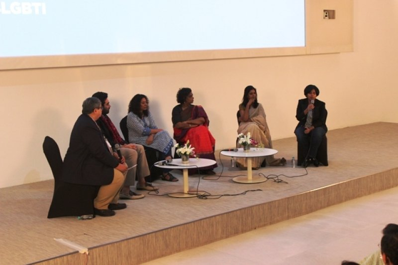 The photograph shows a panel discussion in progress at the launch of a set of five standards to support corporate bodies in preventing discrimination against queer people in the workplace and beyond. The standards have been developed by the UN Office of the High Commissioner for Human Rights. The event took place at the Godrej global headquarters in Mumbai on October 12, 2017. The document on the standards was titled 'Tackling Discrimination against Lesbian, Gay, Bi, Trans, & Intersex People: Standards of Conduct for Business', and was launched by Fabrice Houdart, Human Rights Officer, Office of the UN High Commissioner for Human Rights. The panel discussion preceded the launch and featured Radhika Piramal, Managing Director, VIP Industries Limited; Nandita Das, Actor and Filmmaker; Gauri Sawant, Transgender Activist; Meenakshi Ganguly, Director South Asia, Human Rights Watch; and Keshav Suri, Executive Director, Lalit Suri Hospitality Group. The panel was moderated by Salil Tripathi, Senior Adviser, Global Issues, Institute for Human Rights and Business, London. Photo courtesy: Communication Design Team, GCPL.