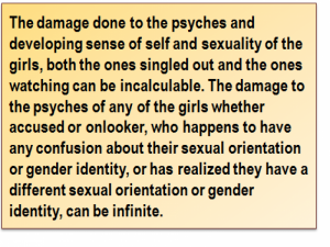 Quote: The damage done to the psyches and developing sense of self and sexuality of the girls, both the ones singled out and the ones watching can be incalculable. The damage to the psyches of any of the girls whether accused or onlooker, who happens to have any confusion about their sexual orientation or gender identity, or has realized they have a different sexual orientation or gender identity, can be infinite.