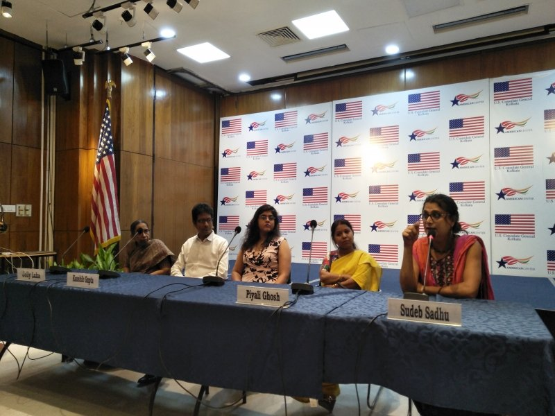 This photograph shows a scene from a panel discussion that took place as part of the formal launch of the online locator for queer friendly health and legal aid services in India developed by Varta Trust, Kolkata; Grindr For Equality, Los Angeles; and SAATHII, Chennai. The launch event took place at the American Center, Kolkata on June 28, 2018 as part of their month-long queer pride celebrations and 'Reach OUT', a three-month campaign undertaken by Varta Trust, SAATHII and Grindr For Equality to publicize the locator. The photograph shows panel speakers (from left to right) mental health professional Jolly Laha; advocate Kaushik Gupta; 'Reach OUT' Campaign Manager Brindaalakshmi K.; HIV counsellor Piyali Ghosh; and transgender activist Sudeb Sadhu. The four panellists spoke about the challenges in their spheres of work around issues of gender and sexuality. Photo credit: Pawan Dhall