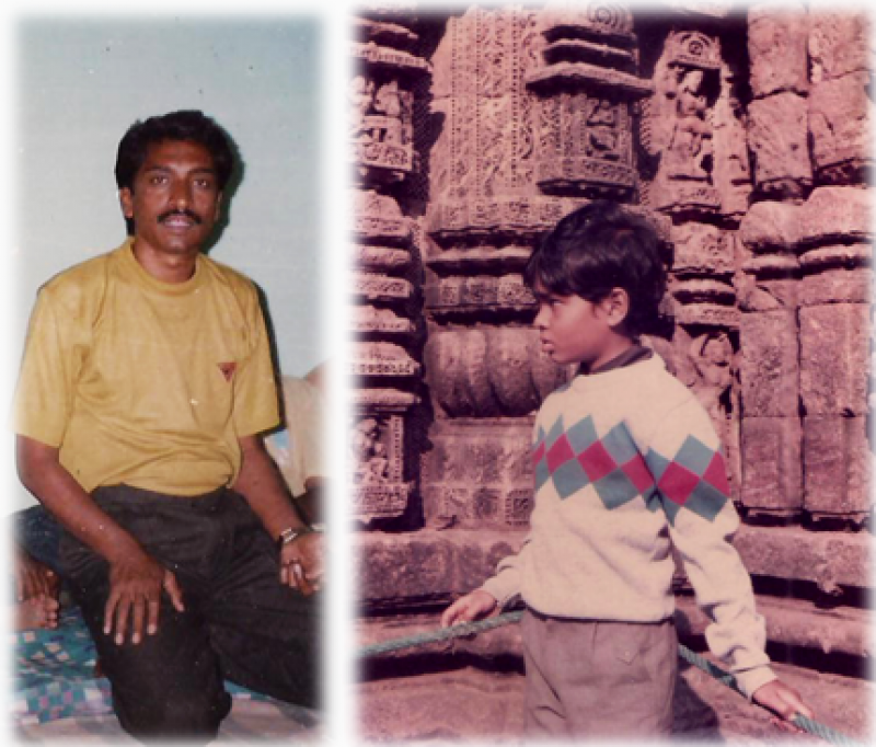 This main photograph shows a picture each of B. Kumar and Rudra Kishore Mandal, the two interviewees for this article, from their younger days. B. Kumar can be seen in the first photograph on the left. He is sitting with knees folded on a mattress lined up against the wall inside a room, and is looking at the camera. He is dressed in a t-shirt and trousers. Portions of arms and feet of people on either side of him are also visible. It seems a meeting is under way and Kumar is possibly conducting the meeting. The second photograph to the right shows the left side profile of Rudra Kishore Mandal as a child. He is standing in front of a stone temple structure with exquisite figurines and other motifs sculpted into the stone. He seems to be in a pensive mood and is dressed in full-sleeved sweater and trousers. This is a bright daylight photograph. The two photographs are juxtaposed in a way that Rudra Kishore Mandal seems to be looking towards B. Kumar, his mentor and queer peer. Photo credits: Rudra Kishore Mandal's personal collection