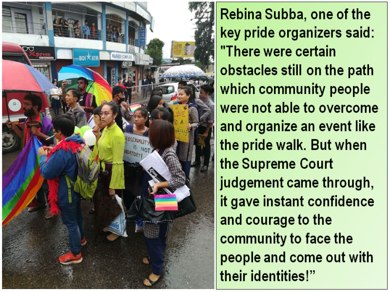 """This visual is another combination of a photograph and quote from the article. The photograph shows a scene from the 'Shillong Pride Walk'. Around 15-20 participants are visible in the photograph, carrying a rainbow pride flag, rainbow umbrellas, posters and balloons. One of the posters says: """"Heterosexuality is not mandatory"""". Across the road from the walkers, a small crowd of people has gathered on the pavement to watch the pride walk. More people are watching from the first floor of a building also across the road. Traffic, shop signs, an advertisement hoarding, some greenery, and a bit of the grey sky are visible in the background. The accompanying quote is from Rebina Subba, one of the pride organizers: """"There were certain obstacles still on the path which community people were not able to overcome and organize an event like the pride walk. But when the Supreme Court judgement came through, it gave instant confidence and courage to the community to face the people and come out with their identities!"""" Photo courtesy: 'Shillong Pride Walk' organizers"""