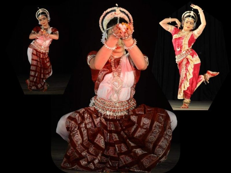 This is a collage of three photographs that show the author performing Odissi on stage depicting different dancing moods. In one photograph she is kneeling down in the 'samabhanga' posture and offering 'vandana' with flowers; in another she is standing up in the graceful 'tribhanga' (s-shaped) posture offering 'vandana' with flowers; and in a third she is performing an 'abhinaya'. In all the photographs she is dressed in costumes and ornaments traditional to the Odissi dance form. The dark stage background provides a striking and pleasing contrast to her brightly lit up figure. Photo credit: Kaushik Mukherjee