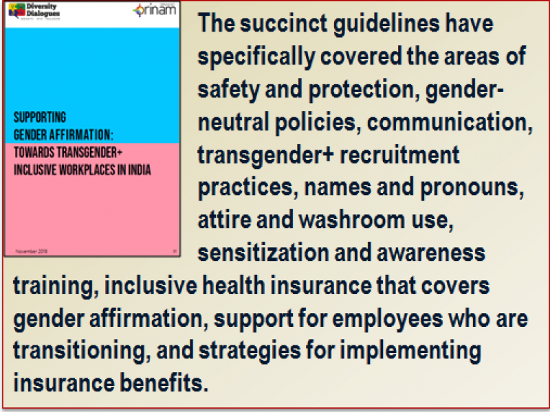 Quote: The succinct guidelines have specifically covered the areas of safety and protection, gender-neutral policies, communication, transgender+ recruitment practices, names and pronouns, attire and washroom use, sensitization and awareness training, inclusive health insurance that covers gender affirmation, support for employees who are transitioning, and strategies for implementing insurance benefits. The quote panel is accompanied with a miniature visual of the guidelines document.