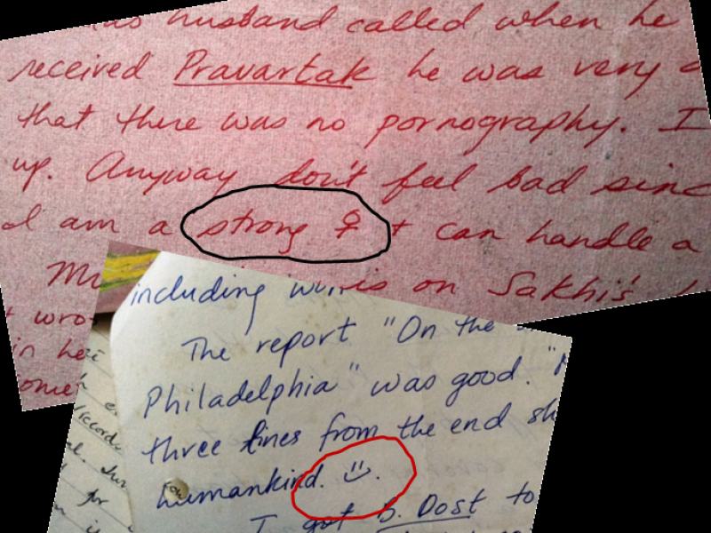 This is a close-up photograph showing portions of two letters written by Lakshmi to Kolkata-based queer support group Counsel Club in the mid 1990s. Lakshmi (pen name) started Sisters, a short-lived queer women's support group in Chennai in the mid 1990s, and is the focus of the accompanying article. The letters have been photographed such that only small portions of the text are visible, without giving out any identity markers. A small portion in each letter has been circled to draw the reader's attention. In one of them a smiley drawn by the letter writer has been circled, while in the other two words 'strong woman' have been circled, where the word 'woman' is represented by the feminine gender symbol (Venus). The significance of the portions encircled can be found in the accompanying article. Photo credit: Pawan Dhall