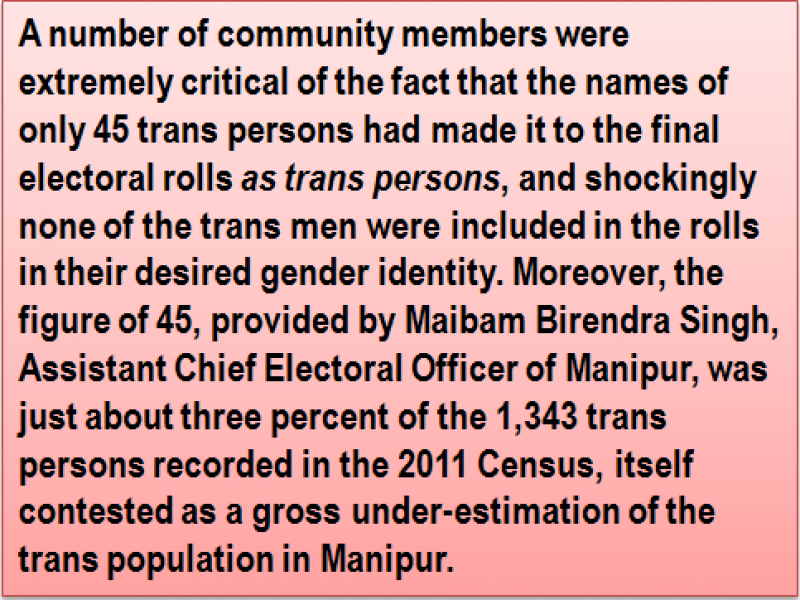 Quote: A number of community members were extremely critical of the fact that the names of only 45 trans persons had made it to the final electoral rolls 'as trans persons', and shockingly none of the trans men were included in the rolls in their desired gender identity. Moreover, the figure of 45, provided by Maibam Birendra Singh, Assistant Chief Electoral Officer of Manipur, was just about three percent of the 1,343 trans persons recorded in the 2011 Census, itself contested as a gross under-estimation of the trans population in Manipur.
