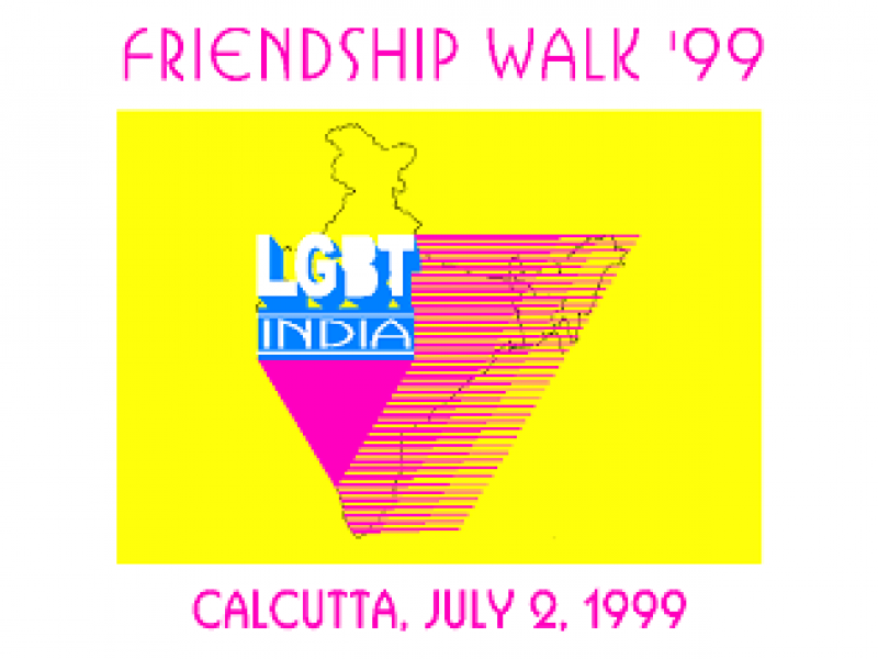 "This graphic shows the draft artwork for the front side of the t-shirts designed for 'Friendship Walk '99'. The artwork is that of the 'Friendship Walk '99' logo – a pink inverted triangle combined with a map of India superimposed on a bright yellow rectangular background. Placed right on top of the base of the inverted triangle is the name of LGBT India (in blue and white lettering), one of India's earliest attempts at forming a national queer collective. There are white bands above and below the yellow rectangle. The upper one has text that says ""Friendship Walk '99"", and the lower one has text that says ""Calcutta, July 2, 1999"". Graphic credit: Owais Khan, Rafiquel Haque Dowjah"