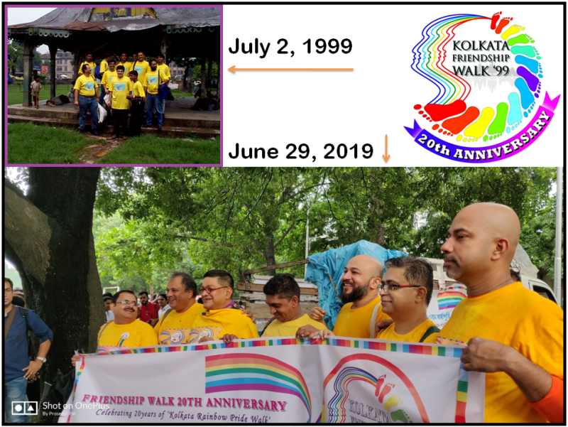 "This graphic has three components to it. On the top left is a long shot photograph of participants gathered at the starting point of 'Friendship Walk '99' at Park Circus Maidan on the morning of July 2, 1999 – this walk is considered the very first edition of 'Kolkata Rainbow Pride Walk'. Around a dozen participants are standing under a gazebo wearing bright yellow t-shirts emblazoned with the walk logo (not decipherable from a distance). All around the gazebo is lush green grass, with the park largely empty and some buildings in the background. A child is leaning on one of the pillars of the gazebo, staring at the participants, while a few people sleep on the floor of the gazebo behind the participants. Below this photograph is a much larger one that makes up the lower half of the graphic. This is a close sideways shot of six of the first time walkers and one other individual at the starting point of the 20th anniversary events for 'Friendship Walk '99' on June 29, 2019. The venue is again Park Circus Maidan but at a different spot. The participants are all smiles looking at the cameras (not visible in the photograph), standing behind a long banner that says ""Friendship Walk 20th Anniversary – Celebrating 20 years of 'Kolkata Rainbow Pride Walk'"". In the background is a crowd of people gathered for the event and a bright green canopy of trees, fresh from a sharp shower of rain. It rained similarly on July 2, 1999 as well. Part of a small truck decorated for the event is also visible. On the top right of the graphic is the logo created for the anniversary events – a rainbow-coloured graphic showing outlines of human faces and footprints combined in an artistic manner. The logo has text that says ""Kolkata Friendship Walk '99 – 20th Anniversary"". Photo credits: LGBT-India and Prosenjit Pal. Anniversary events logo credit: Rafiquel Haque Dowjah"