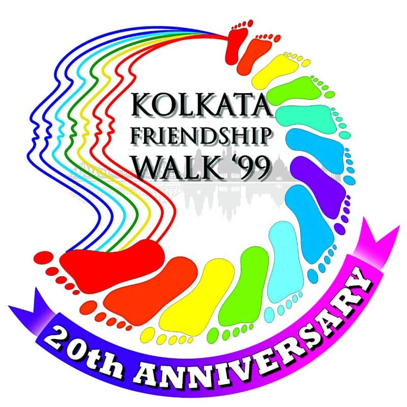"This graphic shows the logo created for the 20th anniversary observations of 'Friendship Walk '99', which was the very first edition of 'Kolkata Rainbow Pride Walk'. The logo consists of seven parallel VIBGYOR coloured outlines of the side profile of a human face. The outlines merge into a semi-circular and VIBGYOR coloured pattern of human footprints. Inside this roughly spherical graphic is the text ""Kolkata Friendship Walk '99"", and all along the lower boundary of the spherical graphic is a violet and pink ribbon with the text ""20th anniversary"". One can see a glimpse of the Kolkata cityscape behind the text ""Kolkata Friendship Walk '99"". The entire logo is presented on a contrasting white background. Graphic credit: Rafiquel Haque Dowjah"