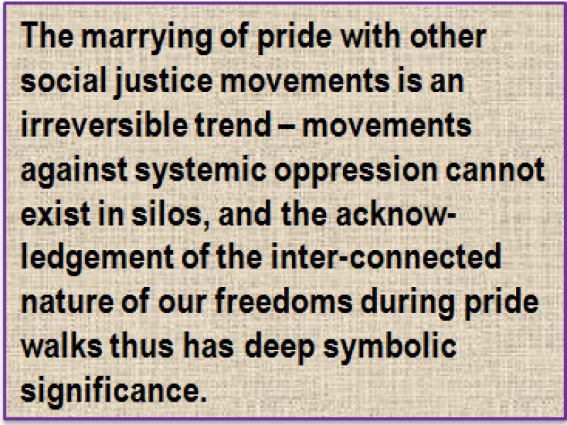 Quote: The marrying of pride with other social justice movements is an irreversible trend – movements against systemic oppression cannot exist in silos, and the acknow-ledgement of the inter-connected nature of our freedoms during pride walks thus has deep symbolic significance.