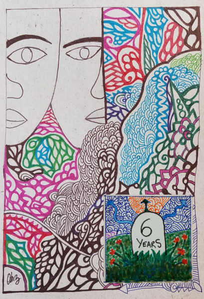 """This main illustration is a combination of two graphics created with pen ink on art paper, combined and modified with Windows Microsoft Paint software. The combined graphic is rectangular in shape and vertical in orientation. The main part of the combined graphic consists of colourful abstract patterns, somewhat floral in nature, making up about two-thirds of the graphic. To the top left corner of the graphic are simple line drawings of two human faces, next to each other, and partially visible such that the left eye of one is next to the right eye of the other person. The eyes and lips seem to have generous proportions. The eyes have a vacant look as they are drawn without pupils. Most crucially, the faces seem to be gender neutral. To the bottom right corner is a small, square-shaped graphic superimposed on the larger rectangular one. It shows a milestone with """"6 years"""" written on it, symbolizing the sixth foundation day of """"Varta"""" webzine (August 1, 2019). The milestone has flowers and foliage growing around it on a grassy patch. The background to the patch also has abstract patterns in different colours. Artworks credit: Anupam Hazra"""