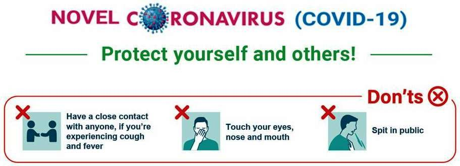 "This graphic provides information on prevention of coronavirus infection. It is headlined ""Novel coronavirus (COVID-19) – Protect yourself and others!"" Below the headline a series of visuals with accompanying text list out a number of things that one should not do: ""Don't have a close contact with anyone, if you're experiencing cough and fever. Don't touch your eyes, nose and mouth. Don't spit in public"". Additional text accompanying the graphic says: ""Coronavirus Alert! Know the symptoms of COVID-19 and take everyday precautions. Practice social distancing. Click on the icon below to learn more about protecting yourself and others from coronavirus infection"". A 'Learn More' icon takes you to the Ministry of Health & Family Welfare, Government of India website, which is the information source for the graphic."