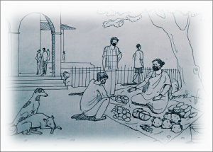 This illustration is a sketch that represents Maya and Shyamu's plans to sustain themselves financially. It shows a woman selling vegetables in a semi-urban market place. She is seated cross-legged under the shade of a tree with a spread of vegetables around her on a tarpaulin sheet, and a couple of buyers picking through the produce. Everyone is wearing a mask on their face. A couple of street dogs laze close by, while more people can be seen some distance away standing in an arched entrance to the market building. The graphic has been provided a computer-aided soft-edged border which draws attention to the woman vegetable vendor, the central character of the sketch. Artwork credit: Ranjay Sarkar