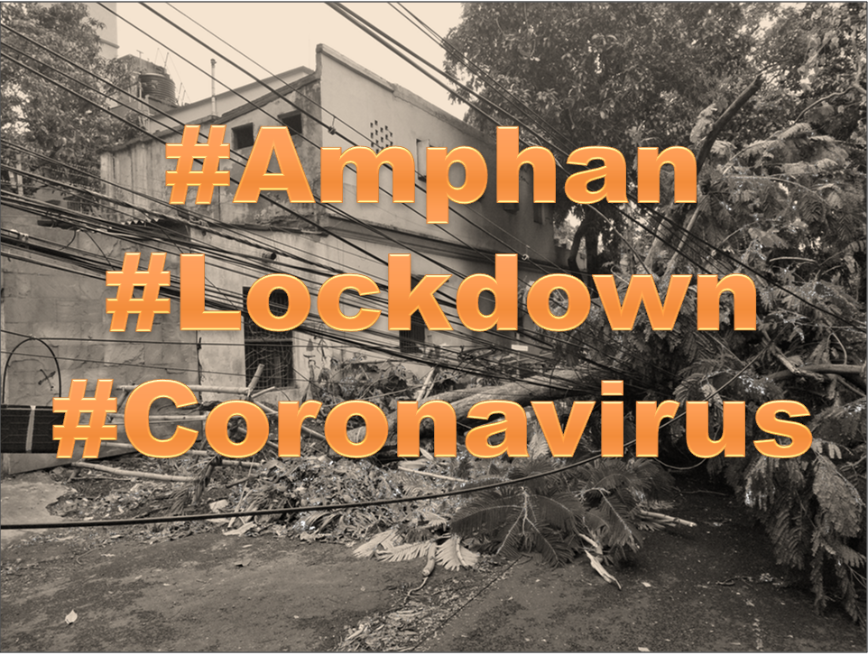 "This main illustration shows the text ""#Amphan #Lockdown #Coronavirus"" superimposed in a large and bold typeface on a photograph taken in the aftermath of the Amphan super cyclone that hit West Bengal, Odisha and Bangladesh on May 23, 2020. The photograph shows a large tree collapsed across Broad Street in South Kolkata. The tree has brought down with it a tangle of overhead cables. A house behind the tree has its entrance almost blocked by the tree's roots and branches. More buildings and upright trees can be seen in the background. The photograph has been given a black and white effect with a sepia tint, while the text is in deep orange colour. Illustration credit: Pawan Dhall"