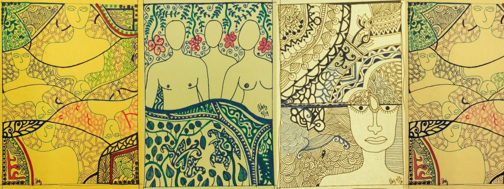 Banner artwork created with pen ink on art paper – shows a series of multi-coloured line drawings of human figures, floral patterns and abstract designs – the human figures represent diverse genders and sexualities, including genderqueer expressions – the underlying themes conveyed are that of intimacy, sensuousness, fluidity and diversity. Artwork credit: Anupam Hazra