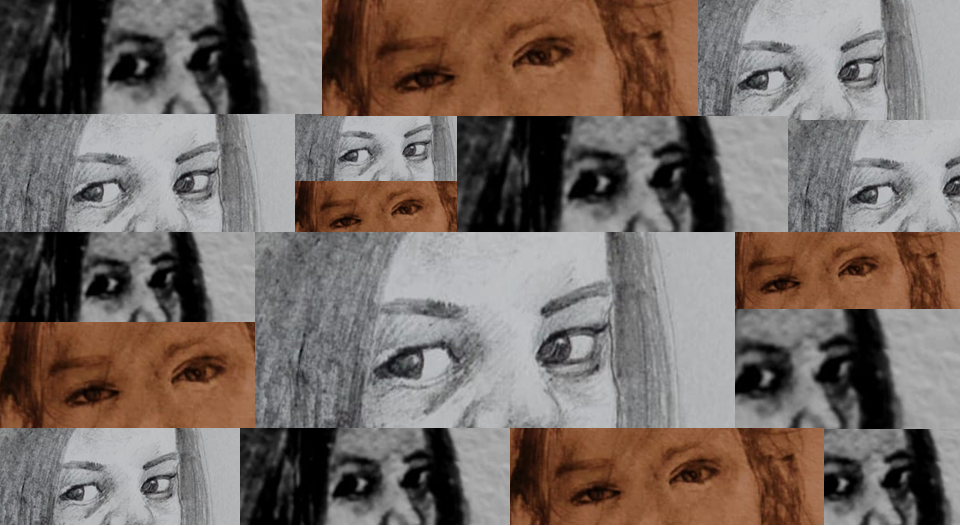 This main graphic is a collage of sketches of three different pairs of human eyes. Each sketch, rectangular in shape, appears several times in the graphic in different sizes and places. Some of the sketches are in tones of black and white, while some have a sepia tint. Together the sketches fill up the rectangular graphic space, creating a 'brick wall of eyes' looking at the reader, as if to ask a question. The question could be about why families of trans persons often treat them in an inhuman way, even when the trans persons do everything in their power to take care of their families in situations such as the current coronavirus pandemic and lockdown. Why is their love not returned with equal care and affection? This issue is the main theme of the article associated with this graphic. Artwork credit: Ranjay Sarkar (pencil sketch on paper), Pawan Dhall (visualisation)