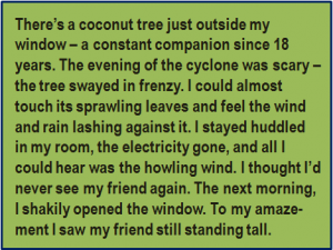 Quote: There's a coconut tree just outside my window – a constant companion since 18 years. The evening of the cyclone was scary – the tree swayed in frenzy. I could almost touch its sprawling leaves and feel the wind and rain lashing against it. I stayed huddled in my room, the electricity gone, and all I could hear was the howling wind. I thought I'd never see my friend again. The next morning, I shakily opened the window. To my amaze-ment I saw my friend still standing tall.