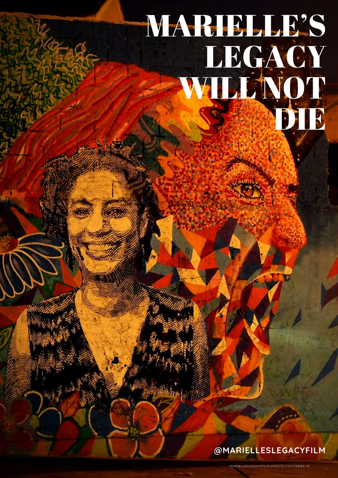 This illustration shows a colourful poster of Leonard Cortana's documentary film 'Marielle's Legacy Will Not Die', which has been reviewed in the accompanying article. To the left-centre of the poster is a stylized, cheerful and smiling image of Marielle Franco, who was an upcoming and spirited Afro-Brazilian human rights activist. She was assassinated by her detractors in March 2018. Behind this image is another stylized and fierce side profile image of Marielle where she seems to be growling like a tiger or a lion. The second image forms a backdrop to the first. To the top right of the poster is the film's name printed in bold lettering; to the bottom right is the film's Twitter handle @Marielleslegacyfilm. Poster credit: Artist unknown