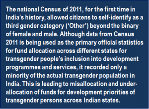 Quote: The national Census of 2011, for the first time in India's history, allowed citizens to self-identify as a third gender category ('Other') beyond the binary of female and male. Although data from Census 2011 is being used as the primary official statistics for fund allocation across different states for transgender people's inclusion into development programmes and services, it recorded only a minority of the actual transgender population in India. This is leading to misallocation and under-allocation of funds for development priorities of transgender persons across Indian states.