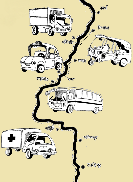 This illustration is a comic-style sketch that shows the approximate route that the author of the accompanying article undertook to travel from Bongaon in the North 24 Parganas district of West Bengal to Baruipur in the South 24 Parganas district. It shows the starting and end points of the journey and all the key stops in between (Chandpara, Gaighata, Habra, Guma, Barasat, Patuli, and Mallikpur). The text is in Bengali. The route map has been drawn in the form of a twisting and turning roadway line. All along the line are animated sketches of the different vehicles the author boarded for the journey – an auto-rickshaw, a taxi, bus and a couple of vans. Portions of the journey that the author undertook on foot have been marked with dotted lines. The author undertook this journey on May 25, 2020 to attend Eid festivities at Baruipur with their lover and friends. The route map is not to scale. The sketch has been made with black pen ink on white art paper and then touched up with the Adobe Photoshop software. It has a cheerful creamy yellow background. Illustration credit: Ranjay Sarkar