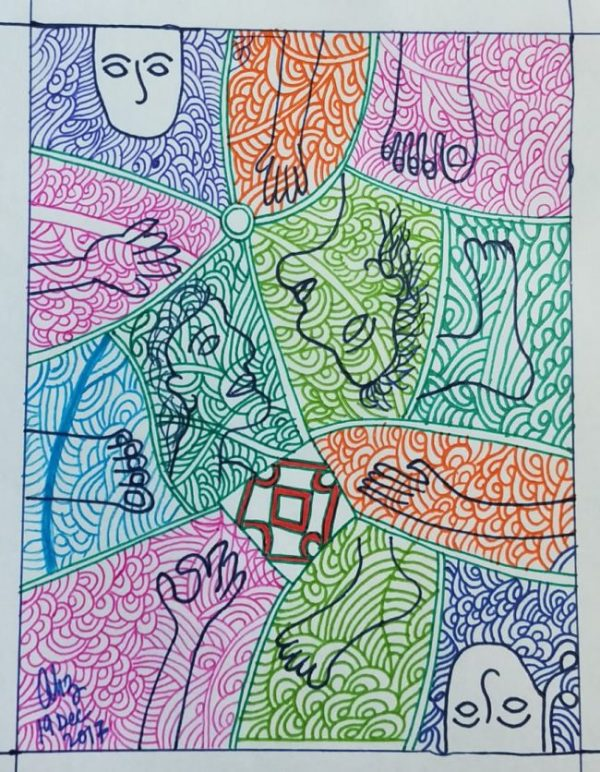 This is an abstract artwork created with pen ink and highlighter marker pens on white art paper. It is a mosaic of several irregular shapes drawn with green ink; all the shapes fit into each other. The shapes are contained in a vertical rectangle with thick white borders. Each shape contains outline drawings of human faces or limbs drawn with deep blue ink. The drawings are overlaid by floral and other random patterns drawn in different colours, predominantly different blues and greens, pink and orange. The collection of disjoint human faces and limbs seems to symbolize the disarray that the protagonist in the accompanying article has been experiencing during the coronavirus pandemic and lockdown. Graphic credit: Anupam Hazra