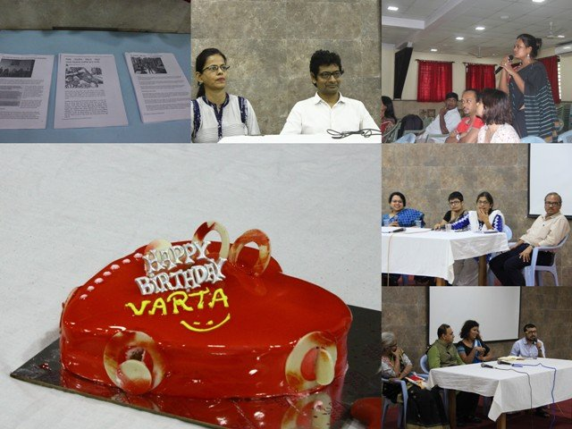 "This visual is a collection of six photographs that show different scenes from the symposium 'Queering Mental Health' organized at Seva Kendra Calcutta Training Centre on August 4, 2018 as 'Varta' webzine's fifth birthday event. The photographs are placed in a grid. Clockwise from top left: Varta literature on display at the symposium; panellists Sudha Jha and Kaushik Gupta; audience interaction during the symposium – a young woman asks a question as other participants look on; panellists Dr. Madhurima Ghosh, Shilpi Banerjee, Shampa Sengupta and Mohit Ranadip; panellists Dr. Chilka, Dr. L. Ramakrishnan, Rituparna Borah and Sayan Bhattacharya; and 'Varta' birthday cake – a heart shaped cake with red gleaming icing all over, a ""Happy Birthday"" plastic prop placed on the top surface, and Varta's name and a smiley drawn out in yellow icing just below the prop. The photograph of the cake takes up maximum space in the grid, with other equal sized photographs placed above it and to its right. Photo credits: Jia Mata (first two and the last photograph) and Kaushik Gupta (remaining photographs)."