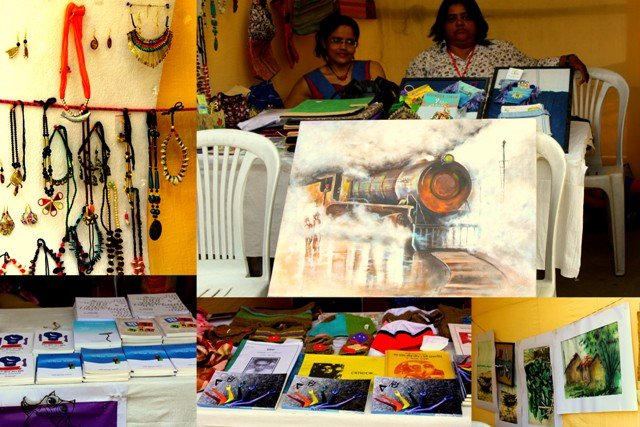 Another photograph with five smaller panels of different sizes: A square panel on the left shows a display of assorted jewellery – mostly necklaces and earrings made of beads and shells hung on a thick cord or pinned on a sheet of thermocol propped up against the side of a stall. Next to the first panel is a big rectangular panel with the painting of a steam engine in the forefront. Two women are seated in the stall behind the painting. Several items of stationery and jewellery are on display on a table placed in front of the two women. Below the first two panels are three smaller ones that show displays of some booklets and brochures, Bengali literature on music, and more paintings (mostly water colours showing rural scenes). Photo credit: Prosenjit Pal