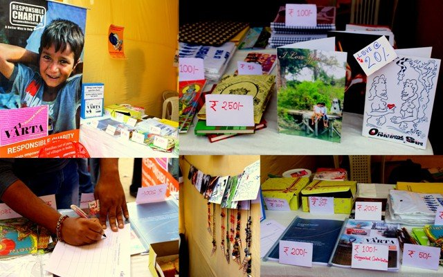 This photograph is split into several panels; all show the displays at Varta Trust's stall at the 'Kolkata Rainbow Carnival 2018'. Publications on gender and sexuality, greeting cards, stationery, jewellery made of beads and shells, t-shirts, posters and food stuff (cakes) are displayed on a table in the stall. Some items are displayed hanging on the walls of the stall. One panel shows a visitor providing their contact and feedback in a register. The material displayed was provided by Varta and its partner agencies – Nazariya, Delhi; RAHI, Delhi / Kolkata; Responsible Charity, Kolkata; Sienna, Kolkata and Sruti Disability Rights Centre, Kolkata. The greeting cards, jewellery and food items were provided by a few volunteers of Varta. Many of the items were for fundraising (their suggested donation tags can be seen displayed prominently), while others were for free distribution Photo credit: Prosenjit Pal