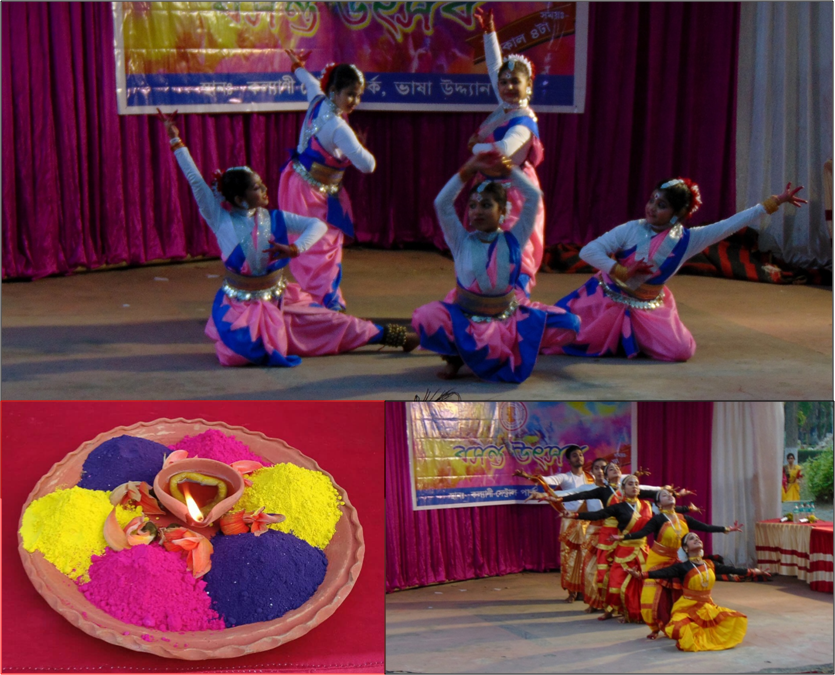 This is a panel made up of three photographs that show different scenes from the Dol Jatra event organized by Nadia Ranaghat Sampriti Society at the Kalyani Central Park on March 21, 2021. Two of the photographs show Rabindra Nritya performances on a small open air stage screened on only the far side with flowing deep pink and white curtains. A colourful event banner is pinned on to the curtains. In one of the photographs, a medium shot shows five young girls performing and the camera has captured a moment where they are posed in a flower-like formation. In the second photograph, a long shot, there are six performers of mixed genders. All are positioned in a single file, with the foremost performer kneeling down in a dancing pose; each subsequent performer stands a little taller than the person before them. All six have their arms stretched out and are looking skywards. Both photographs were taken in the early evening hours. The third photograph is a close up shot of an earthen plate arrayed with 'abir' powder in different colours, flower petals, and a lit 'diya' in the centre. The plate is placed on a table covered with red cloth. Photo credits: Rafiquel Haque Dowjah (dance performances); Nadia Ranaghat Sampriti Society (plate of 'abir')